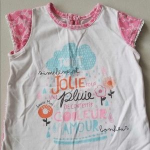 Souris Mini pink and white summer shirt 6 Months